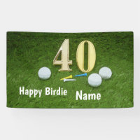40th Birthday with golf ball and number on green Banner