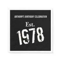 40th Birthday Year 1978 Custom Paper Napkin