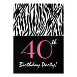 40th Birthday Zebra Stripes Black White with Pink Personalized Announcements
