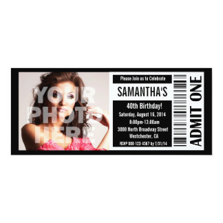 "40th Black and White Ticket 4"" X 9.25"" Invitation Card"