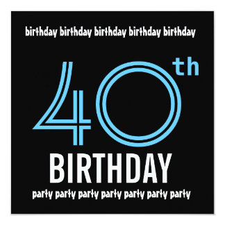 40th Black White Blue Birthday Party Template Card