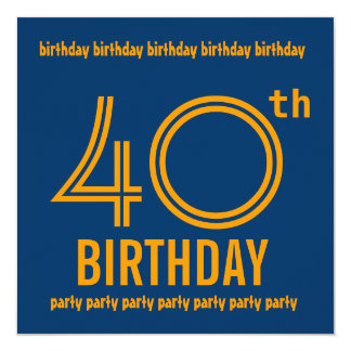 40th Blue and Gold Birthday Party Template Card