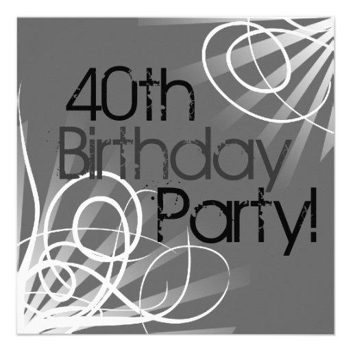 40th Charcoal Swirl Custom Invitations front/back