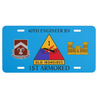 40TH ENGINEER BN 1ST ARMORED LICENSE PLATE