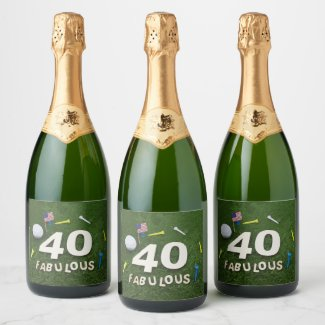 40th Fabulous Golfer birthday golf ball and tee Champagne Label