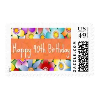 40th flower birthday postage stamps