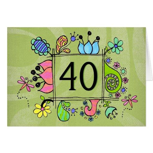 40th Folk Art Frame Number Age Birthday Card