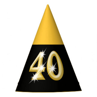 40th fortieth birthday black gold party hat