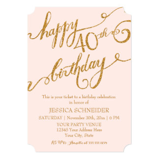 40th, Fortieth Birthday Party Ticket Celebration 5x7 Paper Invitation Card