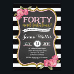 "40th Forty & fabulous Birthday Invitation<br><div class=""desc"">matching party items and custom wording can be done. Email seasidepapercompany@gmail.com</div>"