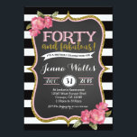 """40th Forty & fabulous Birthday Invitation<br><div class=""""desc"""">matching party items and custom wording can be done. Email seasidepapercompany@gmail.com</div>"""