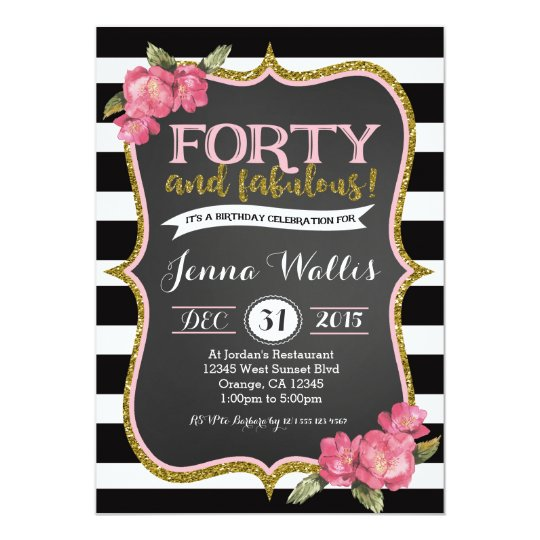 40th forty fabulous birthday invitation zazzle com