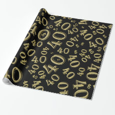 40th Gold/Black Birthday Party  Collage Theme Wrapping Paper