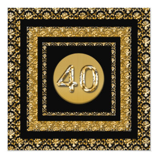 40th gold black damask elegant card