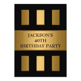 40th Gold Bronze Black Block Stripes Party Card