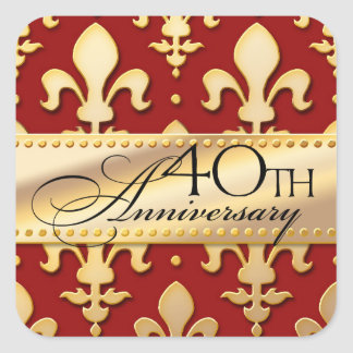 40th, Gold Tone Wedding Anniversary, Fleur de Lis Square Sticker