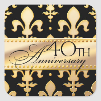 40th, Gold Tone Wedding Anniversary, Fleur de Lis Square Stickers