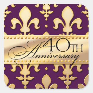 40th, Gold Tone Wedding Anniversary, Fleur de Lis Sticker