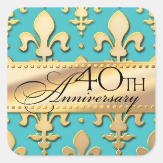40th, Gold Tone Wedding Anniversary, Fleur de Lis Square Sticker