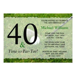 40th Golf Birthday Party Custom Invite
