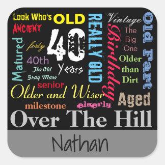 40th Happy Birthday | Milestone Square Sticker