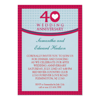 40th Heart Wedding Anniversary Invitation