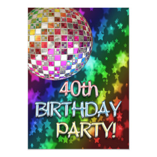 40th invitation with disco ball and rainbow stars