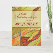 40th Jubilee, Nun, Stained Glass-Look Card