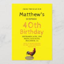 40th Male Birthday Fun Rooster Chicken Invitation