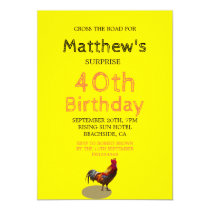 40th Male Birthday Fun Rooster Chicken Invitation