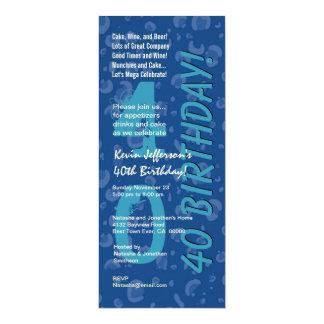 40th Modern Birthday Hues of Blue Camo Confetti Card