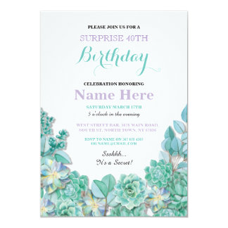 40th or Any Age Birthday Party Floral White Invite