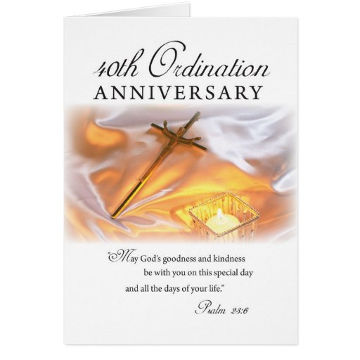 Th ordination anniversary cross candle card zazzle