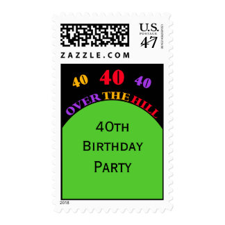 40th Over the Hill Birthday Party Postage