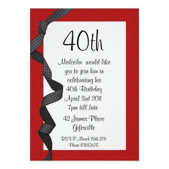 40th Party Invitation Black Ribbon