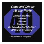 40th party invitation template 13 cm x 13 cm square invitation card