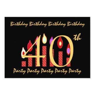 40th Red Black Gold Birthday Party Invitation