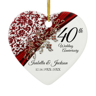 40th Ruby and White with Floral Anniversary Ceramic Ornament