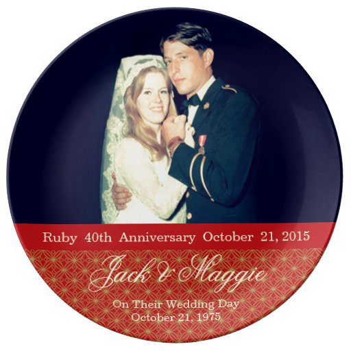 Ruby Wedding Anniversary Gift Experiences : 40th Ruby Anniversary Commemorative Plate Zazzle