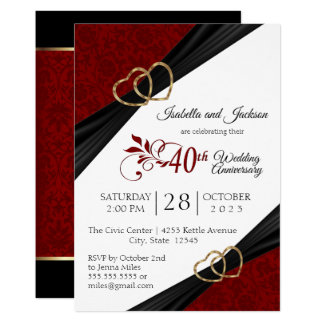 40th Ruby Anniversary Design Invitation