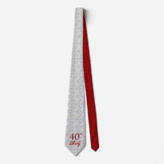 40th Ruby Anniversary in Silver and Red Damask Tie