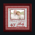 "40th Ruby Anniversary Photo Jewelry Box<br><div class=""desc"">This beautiful lacquered Jewelry or Trinket Box is adorned with our beautiful Wedding Anniversary Collection designs and holds the anniversary couple&#39;s photograph, date of their Ruby Anniversary and their names. A lovely way to cherish the memories you made celebrating 40-years together. A beautiful gift for the husband to give his...</div>"