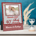 """40th Ruby Anniversary Photo Plaque<br><div class=""""desc"""">Give this customized 40th Ruby Anniversary Plaque as a gift for the couple to cherish the memories of celebrating 40-years of marriage.</div>"""