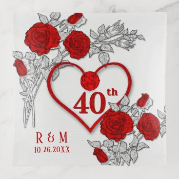 Professional Business 40th Ruby Anniversary with White Roses and Heart Trinket Trays