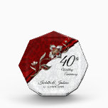 """40th Ruby Floral Wedding Anniversary Keepsake Acrylic Award<br><div class=""""desc"""">40th Ruby Floral Wedding Anniversary Keepsake Design. ⭐This Product is 100% Customizable. *****Click on CUSTOMIZE BUTTON to add, delete, move, resize, changed around, rotate, etc... any of the graphics or text. 99% of my designs in my store are done in layers. This makes it easy for you to resize and...</div>"""
