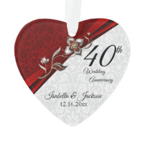 40th Ruby Floral Wedding Anniversary Keepsake Ornament