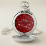 "40th Ruby Red Anniversary Names and Date Pocket Watch<br><div class=""desc"">Vibrant red damask background with Ruby Anniversary typography,  your names and the date of your marriage,  perfect for a gift for your husband on your 40th anniversary.</div>"