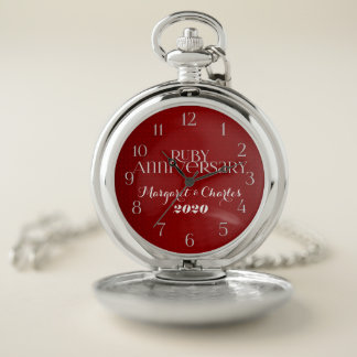 40th Ruby Red Anniversary Names and Date Pocket Watch