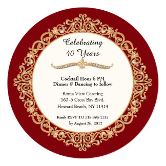 40th Ruby Wedding Anniversary Celebration Round Invitation