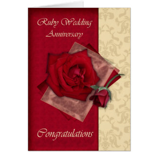 40th Ruby Wedding Anniversary congratulations Card